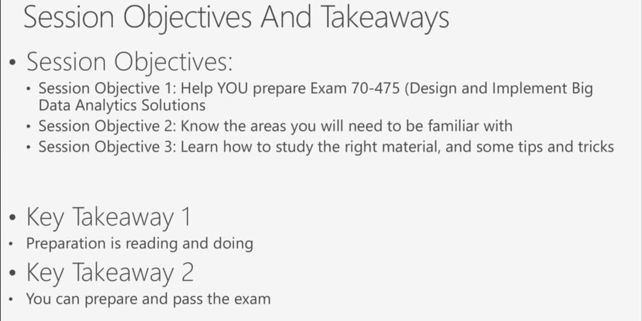 Cert Exam Prep: Exam 70-475: Big Data and Analytics Solutions – BRK3165