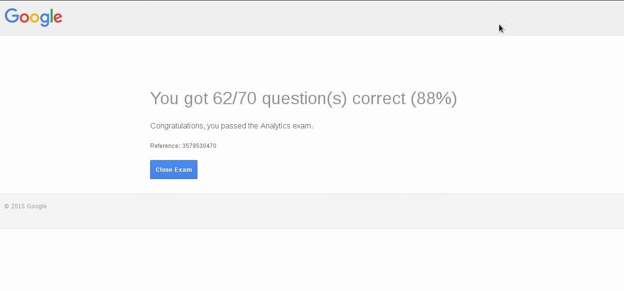Google Analytics Certification Exam  August 2016