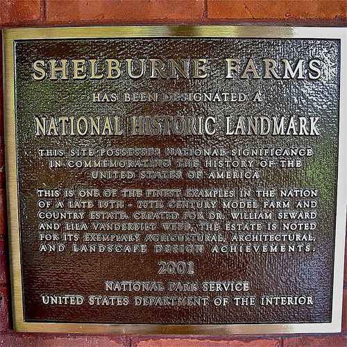 Shelburne Farms (1886) – National Historic Landmark plaque