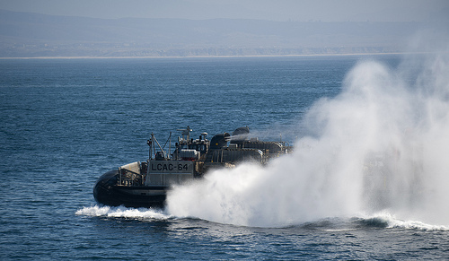 A Landing craft air cushioned (LCAC) departs the well deck of the amphibious transport dock ship USS New Orleans (LPD 18)