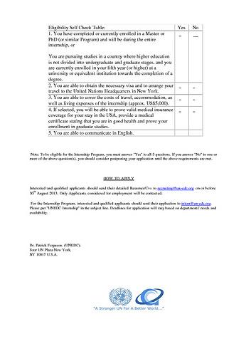 UNEDC EMPLOYMENT/INTERNSHIP NEWSLETTER