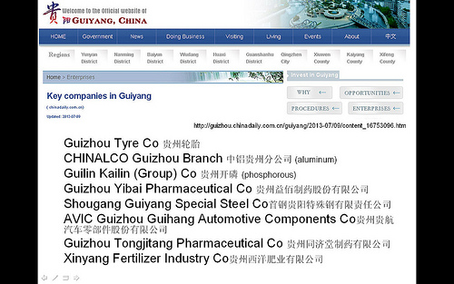 Key companies in Guiyang (China Daily, July 9, 2013)